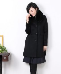 sankyoshokai/カシミヤ 100% マル衿 コート フォックス ファー襟付き 着丈85cm レディース/502035236