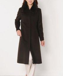 sankyoshokai/カシミヤ 100% ステンカラー ロングコート フォックスファー付き/502035259