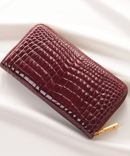 クロコダイル 長財布 シャイニング 加工 一枚革 センター取り レディース ヘンローン 真鍮 チャーム 全20色 『クロコダイル保証書付き』