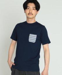 BEAMS MEN/BEAMS / 天竺 ボーダー ポケット クルーネック Tシャツ/501935627