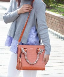 UNGRID bag/スカーフ付クロコ風型押しアオリスクエアバッグ/502037851