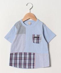 petit main/チェックストライプ切り替えTシャツ/502032605