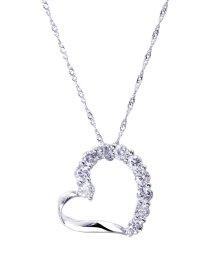 JEWELRY SELECTION/PT 天然ダイヤモンド 計0.4ct ハート プラチナネックレス 【鑑別書付】/502043613