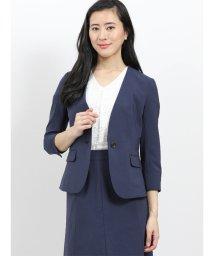 m.f.editorial/エバレット/EVARET ノーカラー7分袖ジャケット+スカート 紺/502044994