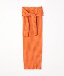 MACPHEE/コットンブークレワイドリブ ミディIラインスカート/502192260