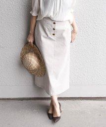 SHIPS WOMEN/リネンポリエステルボタンスカート/502246289