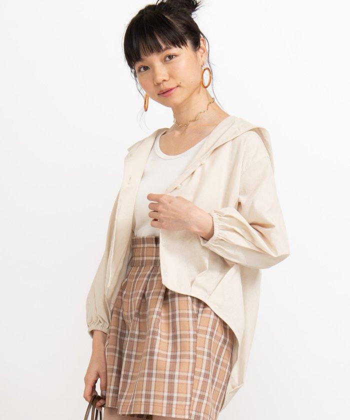 WEGO/ルーズフード7分袖シャツ