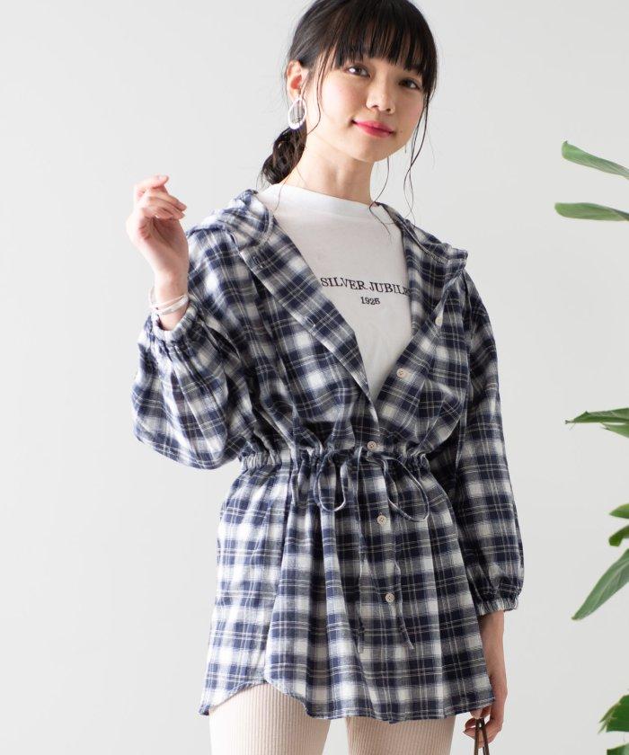 WEGO/ドロストフードBIG7分袖シャツ