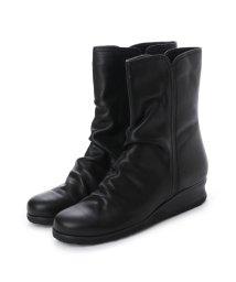Espresso/エスプレッソ Espresso 楽ちん 柔らかレザー シャーリングデザインショートブーツ (ブラック)/502103582