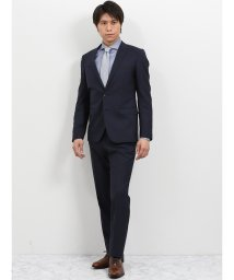 TAKA-Q/ウォッシャブル ピンチェック紺 2パンツスーツ スリムフィット/502249561