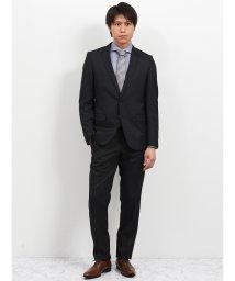 TAKA-Q/ウォッシャブル ストライプ黒 2パンツスーツ スリムフィット/502249563