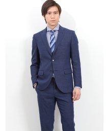 TAKA-Q/ウォッシャブル メッシュシャンブレー紺 2ピーススーツ スリムフィット/502249564