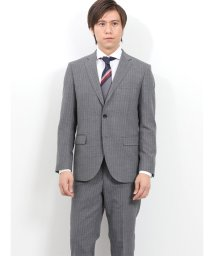 TAKA-Q/ウォッシャブル メッシュストライプ グレー 2ピース スリムスーツ/502249565