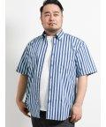 GRAND-BACK/【大きいサイズ】グランバック/GRAND-BACK ストライプ柄半袖ボタンダウンシャツ/502249614