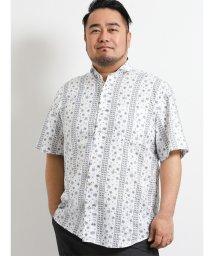 GRAND-BACK/【大きいサイズ】グランバック/GRAND-BACK バンダナ風プリント半袖ラウンドカラーシャツ/502249616