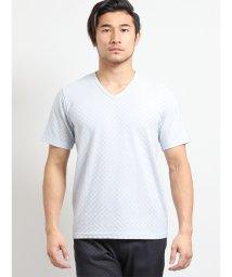 TAKA-Q/吸汗速乾ブライト市松ジャガード ダブルVネック半袖Tシャツ/502249669
