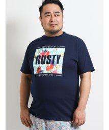 GRAND-BACK/【大きいサイズ】ラスティ/RUSTY ボックスロゴプリントクルーネック半袖Tシャツ/502249691