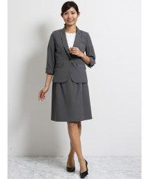 TAKA-Q/クールベスト 1釦7分袖ジャケット+スカート グレー千鳥/502249716