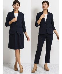 TAKA-Q/クールベスト 1釦7分袖ジャケット+パンツ+スカート 紺チェック/502249717
