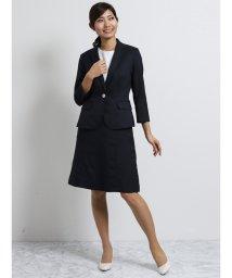 TAKA-Q/オザワルツ 1釦7分袖ジャケット+スカート 紺/502249720