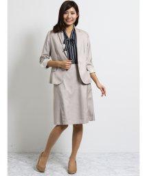 TAKA-Q/オザワルツ 1釦7分袖ジャケット+スカート ベージュ/502249721