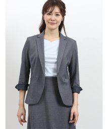TAKA-Q/モクロディー セットアップ1釦7分袖ジャケット 青/502249739