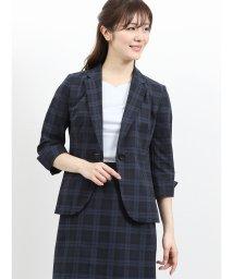 TAKA-Q/クールドッツ セットアップ1釦7分袖ジャケット 紺チェック/502249741