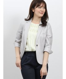 TAKA-Q/ホトフレッシュ/HOTOFRESH セットアップ1釦7分袖ジャケット グレー/502249749