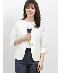 TAKA-Q/ホトフレッシュ/HOTOFRESH キーネック1釦7分袖ジャケット 白/502249750