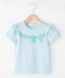 3can4on(Kids)/【抗菌防臭】【150cmまで】リボンプリントストーン付Tシャツ/502254640