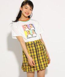 PINK-latte/★ニコラ掲載★柄リブ転写プリント Tシャツ/502255003