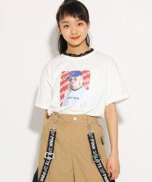 PINK-latte/首袖フリル転写 Tシャツ/502255005