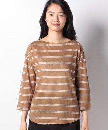BENETTON (women)/リネンボートネックボーダー七分袖Tシャツ・カットソー/501886610