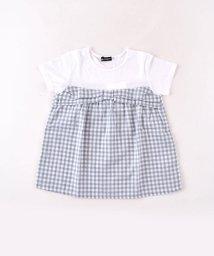 BeBe/ドビーチェックレイヤード風Tシャツ/502039623