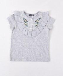 BeBe/花刺繍フリルTシャツ/502041013