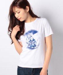 LA JOCONDE/【接触冷感/洗える】スーピマスムース 帆船プリントTシャツ/502120704