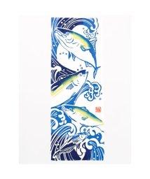 KAYA/【カヤ】注染手ぬぐい 出世魚 ホワイト×ブルー/502145466