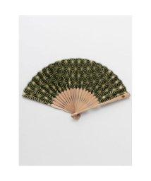KAYA/【カヤ】紳士用 金線麻の葉扇子 袋付き グリーン/502145495