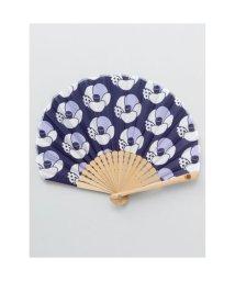 KAYA/【カヤ】レトロ花扇子 袋付き ネイビー/502147882