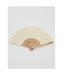 KAYA/【カヤ】紳士用 金線麻の葉扇子 袋付き ホワイト/502148041