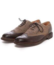London Shoe Make/ロンドンシューメイク London Shoe Make グッドイヤーウエルトオールレザーハンドメイドバイマテリアルウィングチップ(ダークブラウンコンビ)/502152126