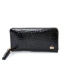 LA BAGAGERIE/ラ バガジェリー LA BAGAGERIE クロコ型押しエナメル 長財布 (BLACK)/502154514