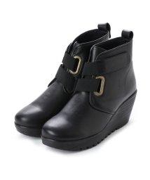 Milla Sports/ミラスポーツ Milla Sports 楽ちんふかふか厚底ウェッジデザインブーツ (ブラック)/502160183