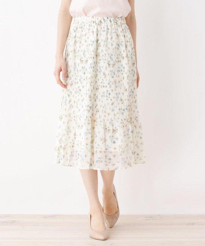 【洗える】カットドビー花柄スカート