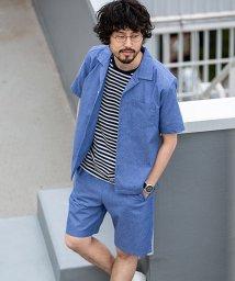 nano・universe/【WEB限定】リカバーブルーオープンカラーシャツ&ショーツセットアップ/502268021