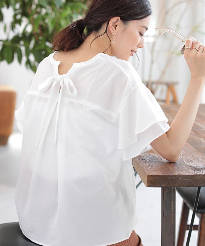 ★BACK RIBBON FRILL BLOUSE