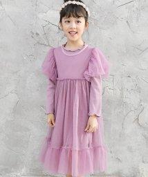 子供服Bee/リブ×チュール長袖ワンピース/502021299