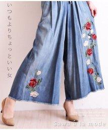 Sawa a la mode/バラ刺繍デニム風ワイドパンツ/502272241