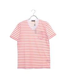 STYLEBLOCK/スタイルブロック STYLEBLOCK ボーダーポケット付き天竺VネックTシャツ (ホワイト×ピンク)/502279125