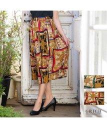 GROWINGRICH/[ボトムス スカート]スカーフ柄 ジョーゼット素材 プリーツ スカート[190350]/502280331